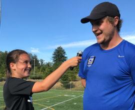 coach being interviewed by child player- sound fc
